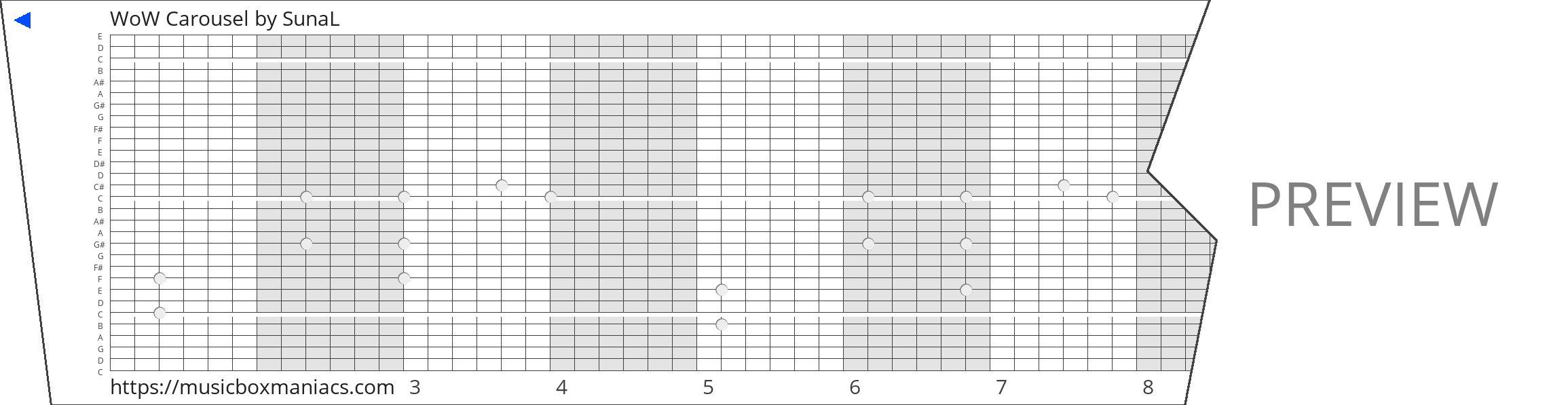 WoW Carousel 30 note music box paper strip