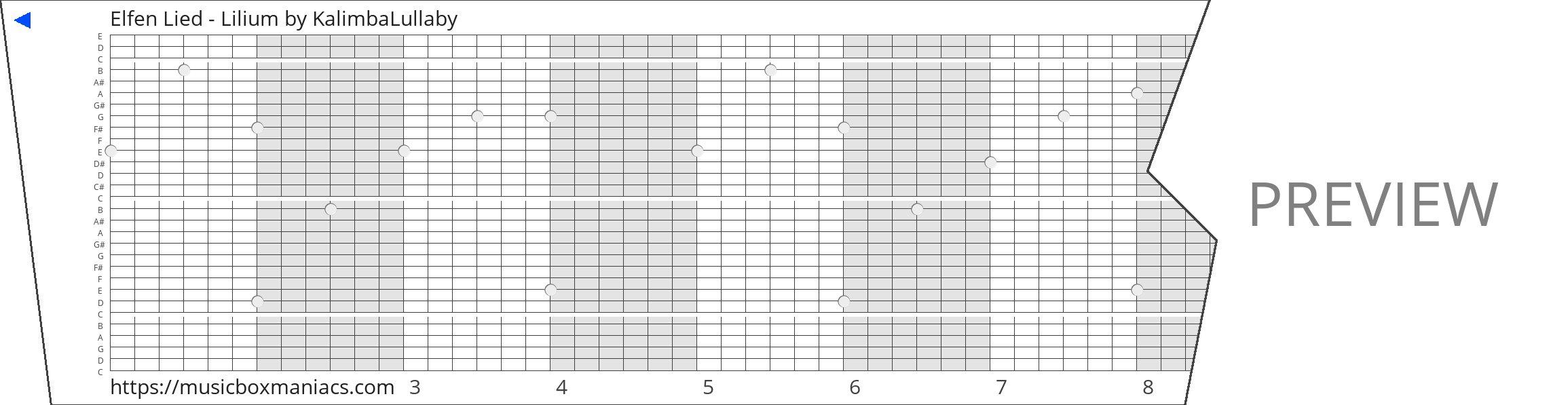 Elfen Lied - Lilium 30 note music box paper strip