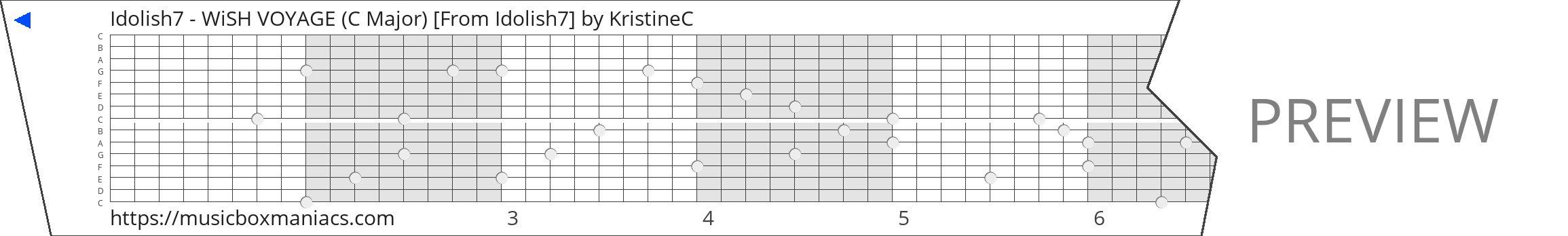 Idolish7 - WiSH VOYAGE (C Major) [From Idolish7] 15 note music box paper strip