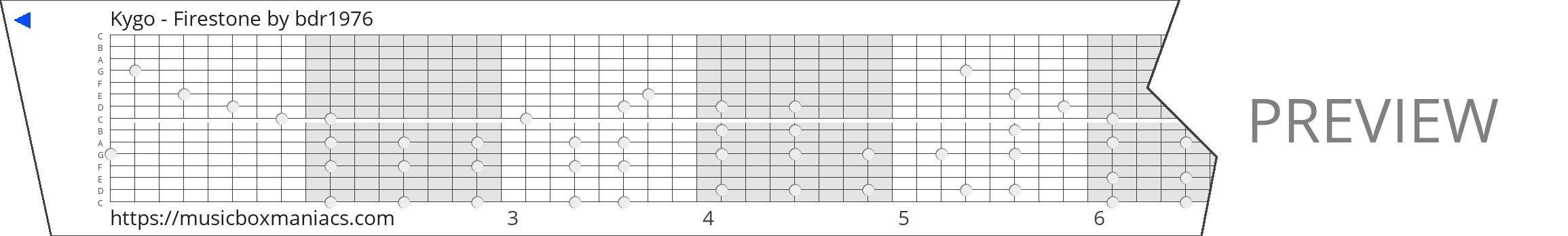 Kygo - Firestone 15 note music box paper strip