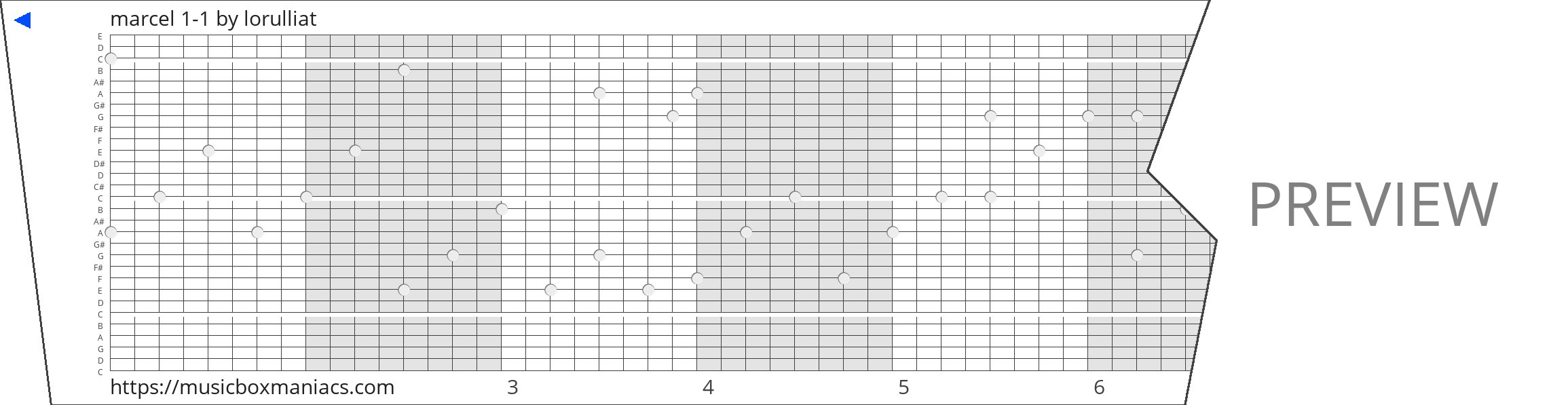 marcel 1-1 30 note music box paper strip