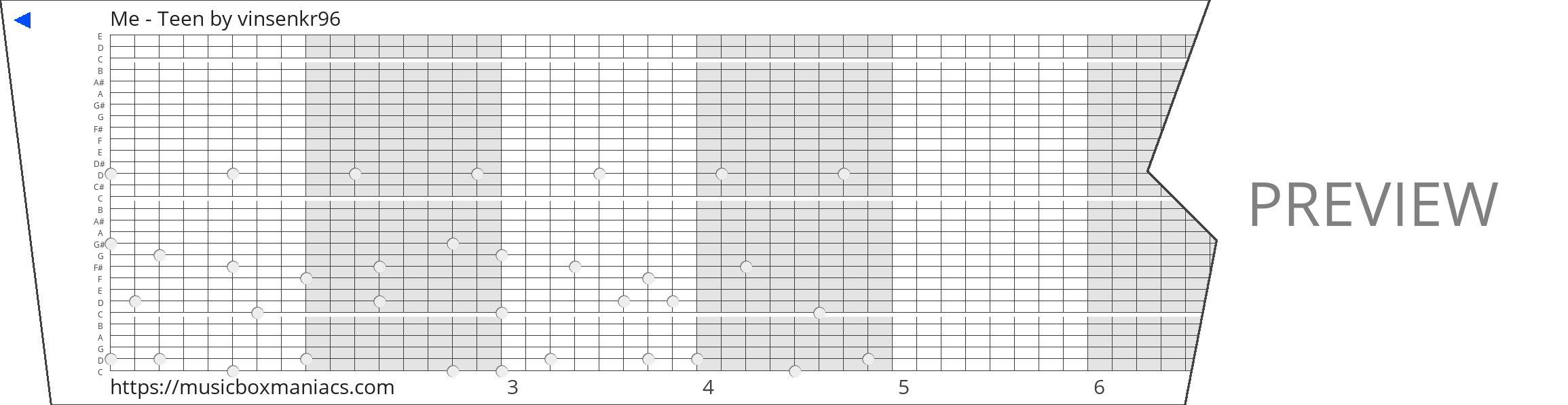 Me - Teen 30 note music box paper strip