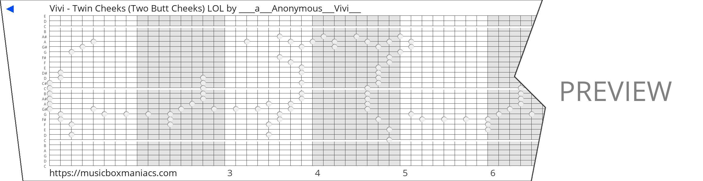 Vivi - Twin Cheeks (Two Butt Cheeks) LOL 30 note music box paper strip