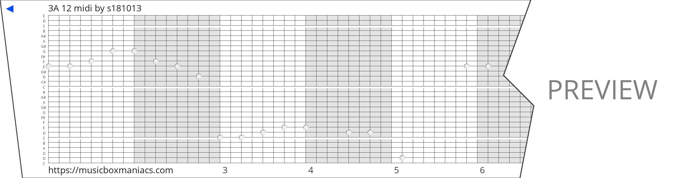 3A 12 midi 30 note music box paper strip
