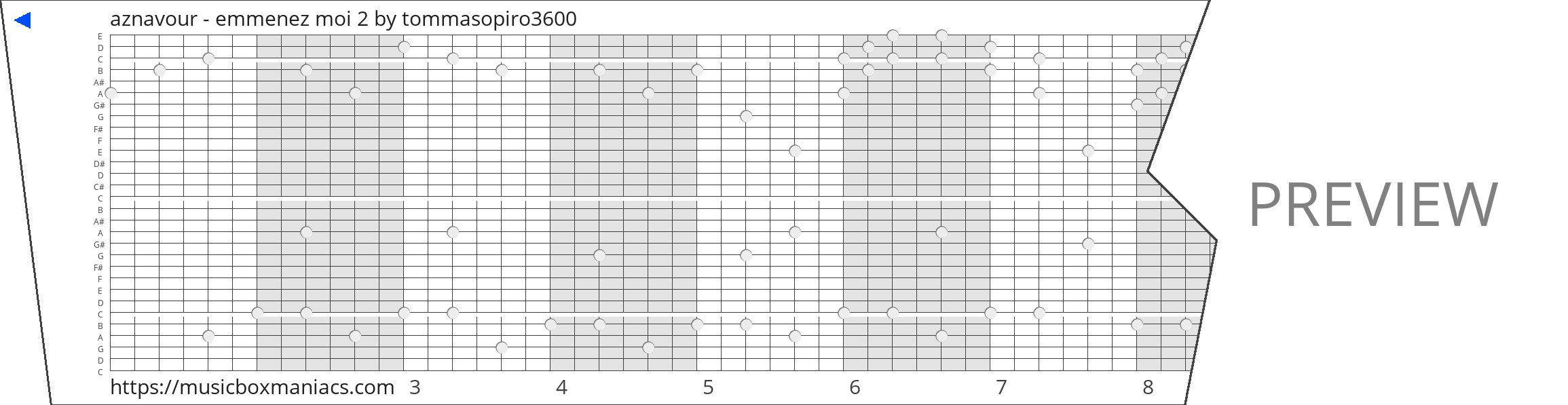 aznavour - emmenez moi 2 30 note music box paper strip