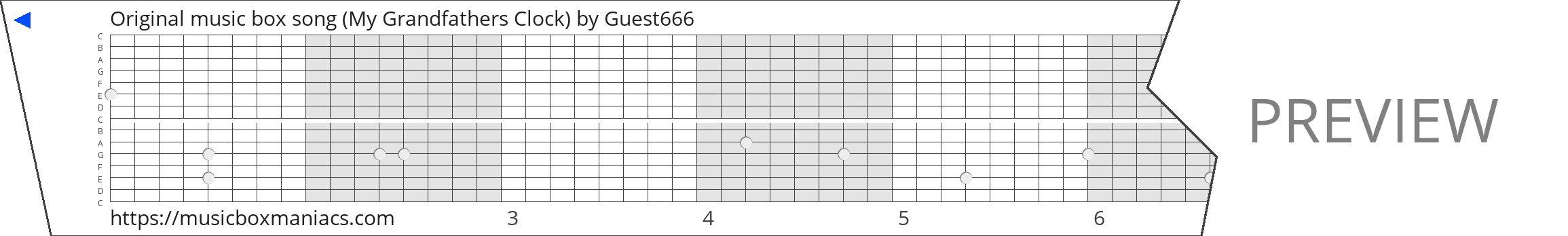 Original music box song (My Grandfathers Clock) 15 note music box paper strip
