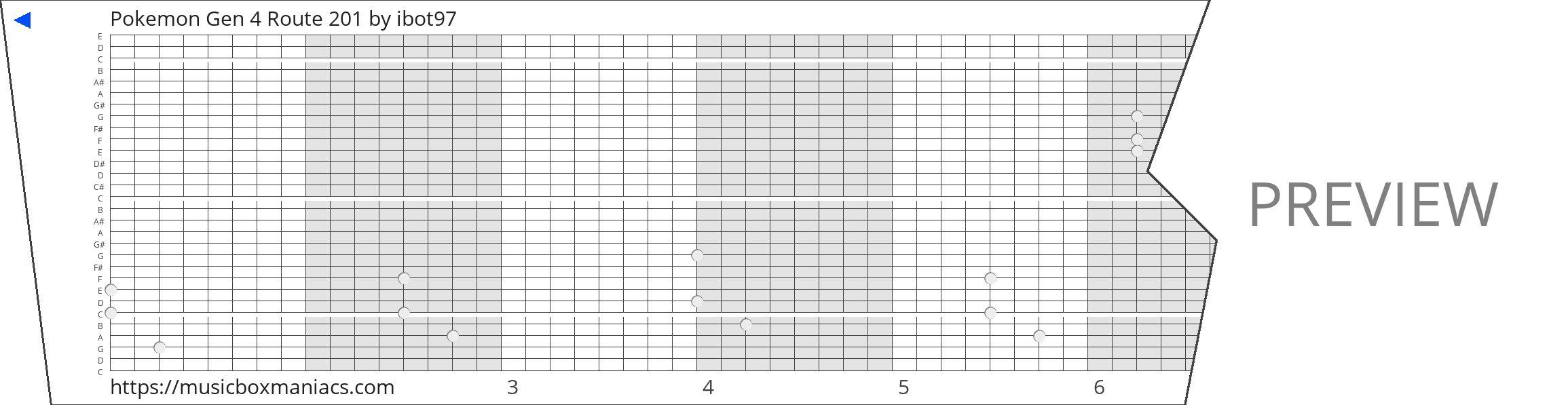 Pokemon Gen 4 Route 201 30 note music box paper strip