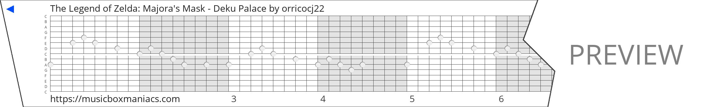 The Legend of Zelda: Majora's Mask - Deku Palace 15 note music box paper strip