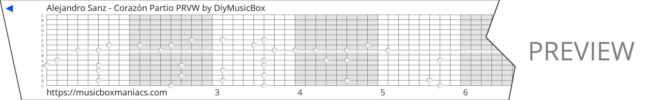 Alejandro Sanz - Corazón Partio PRVW 15 note music box paper strip