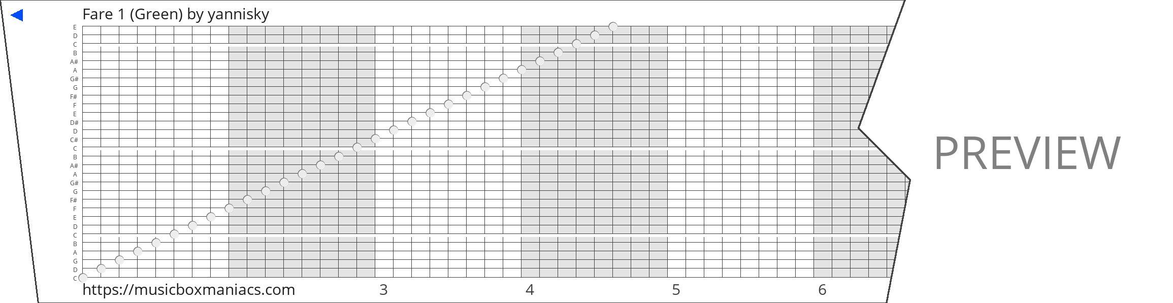 Fare 1 (Green) 30 note music box paper strip
