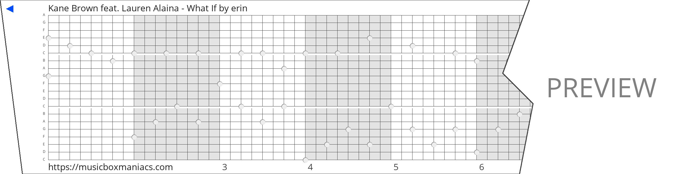 Kane Brown feat. Lauren Alaina - What If 20 note music box paper strip
