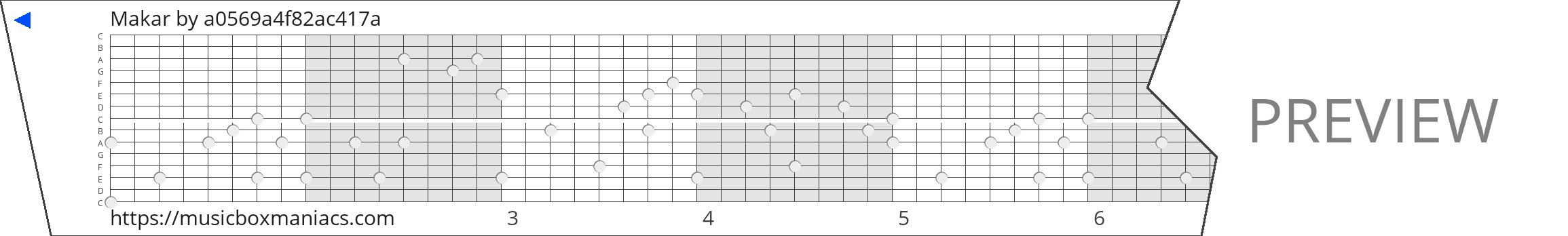 Makar 15 note music box paper strip