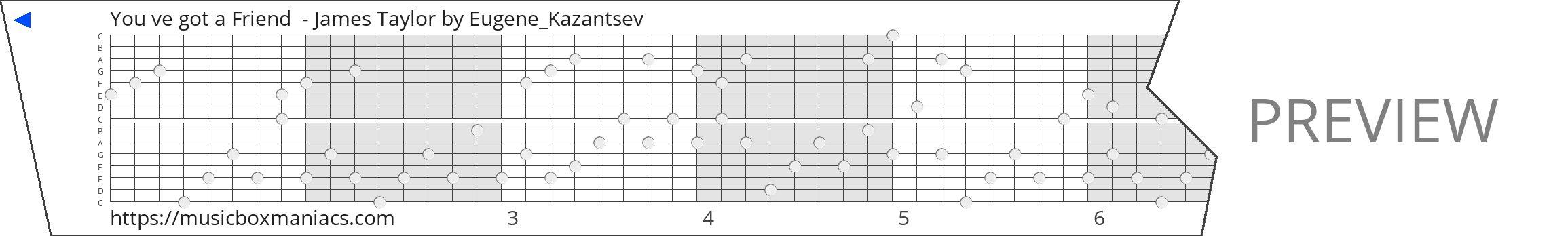 You ve got a Friend  - James Taylor 15 note music box paper strip