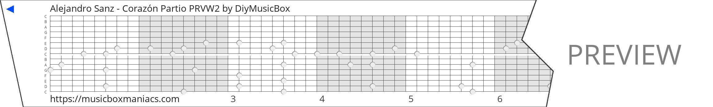 Alejandro Sanz - Corazón Partio PRVW2 15 note music box paper strip