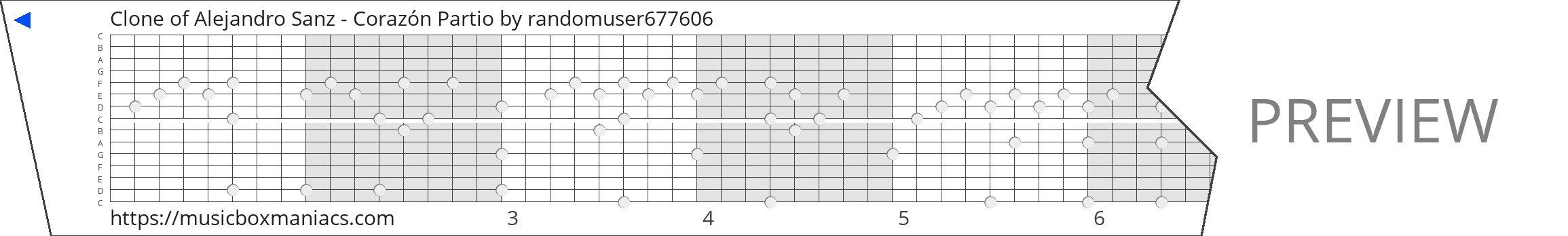 Clone of Alejandro Sanz - Corazón Partio 15 note music box paper strip