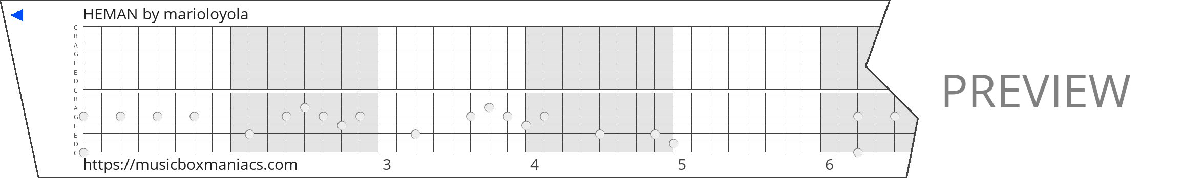 HEMAN 15 note music box paper strip