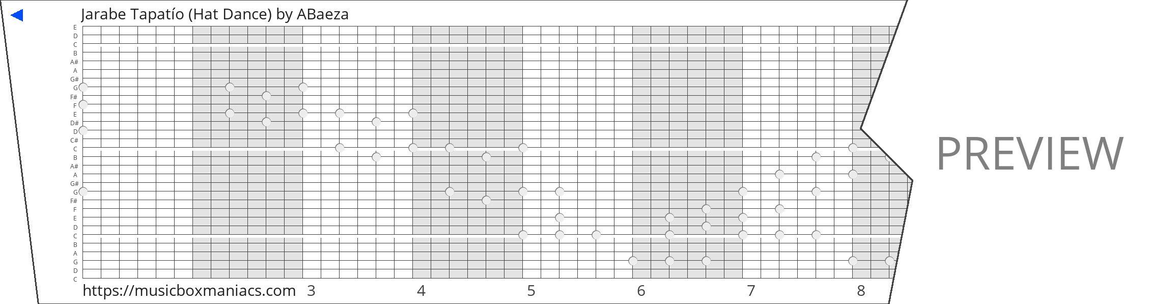 Jarabe Tapatío (Hat Dance) 30 note music box paper strip