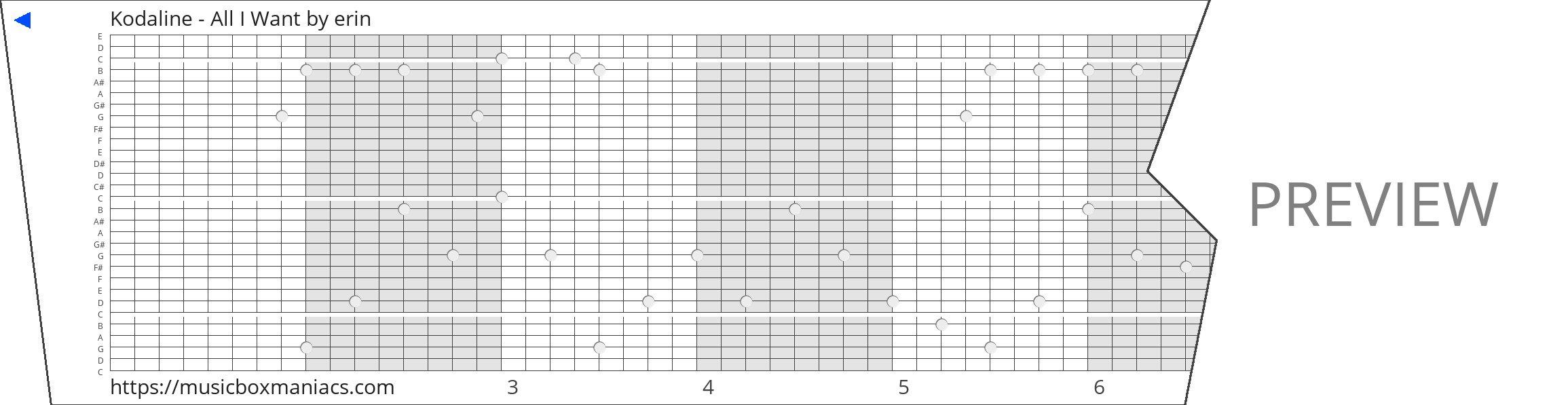 Kodaline - All I Want 30 note music box paper strip