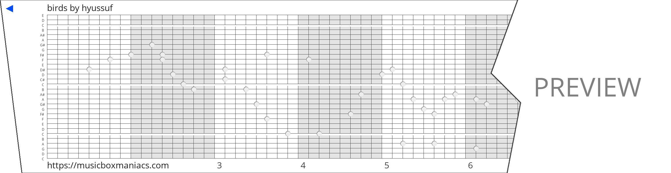 birds 30 note music box paper strip