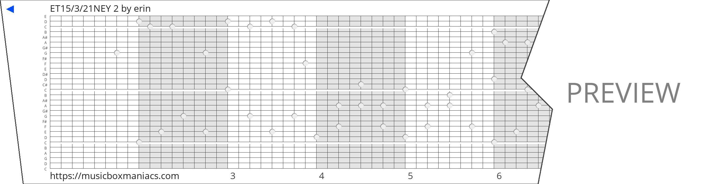 ET15/3/21NEY 2 30 note music box paper strip
