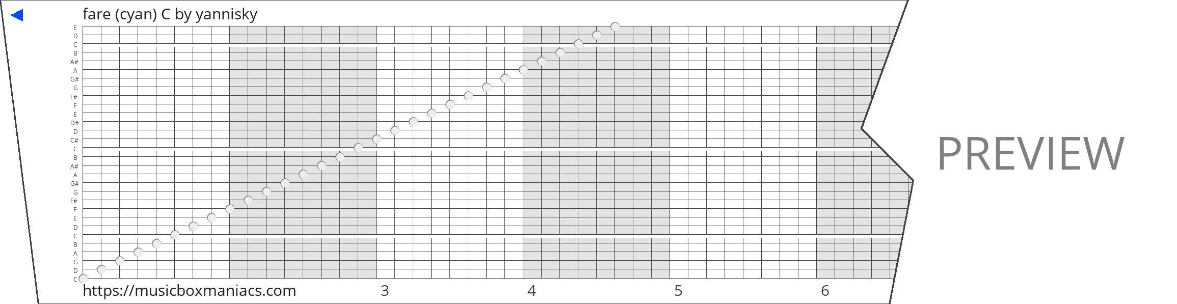 fare (cyan) C 30 note music box paper strip