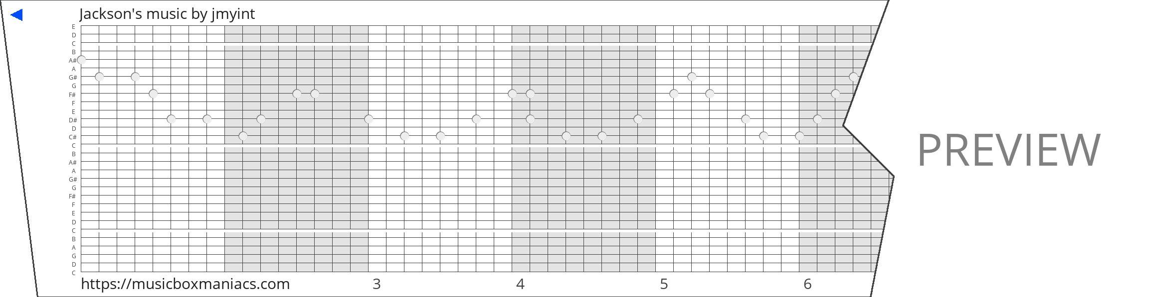 Jackson's music 30 note music box paper strip