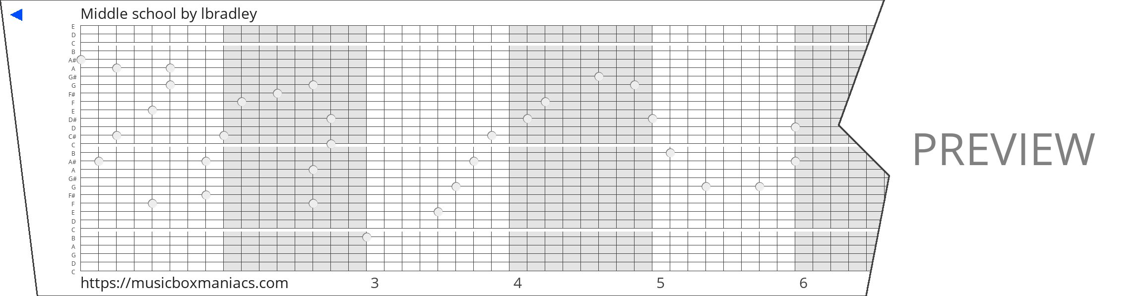 Middle school 30 note music box paper strip