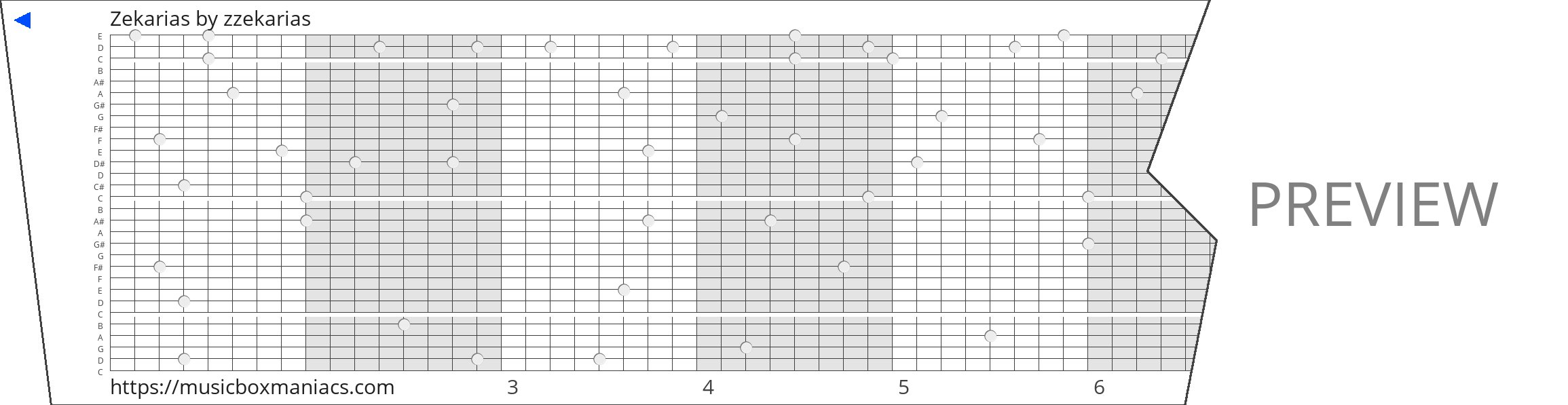 Zekarias 30 note music box paper strip