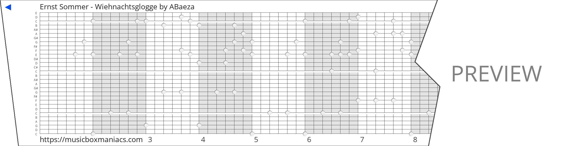 Ernst Sommer - Wiehnachtsglogge 30 note music box paper strip