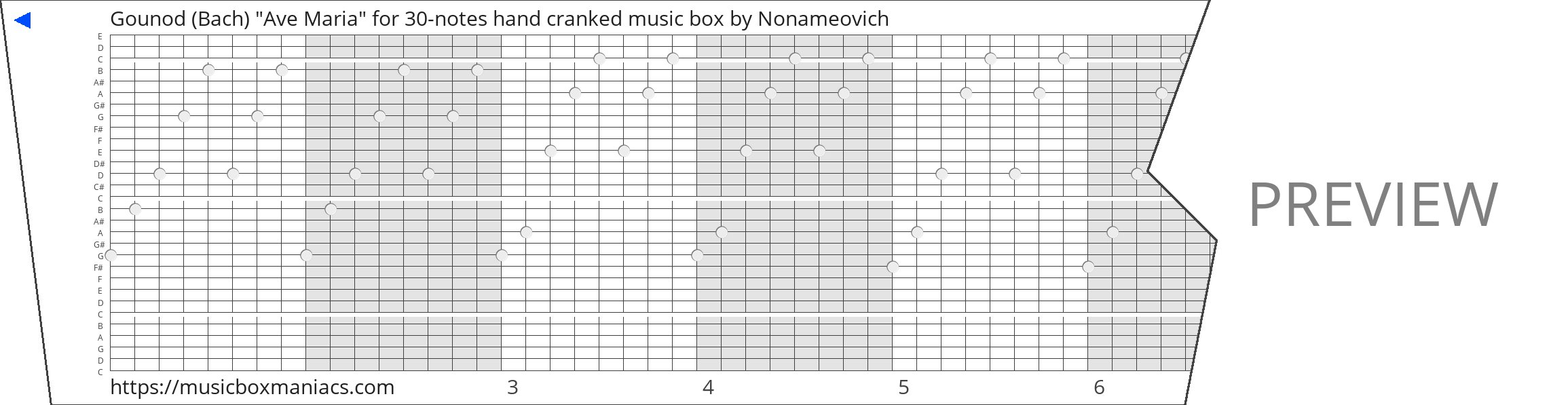 """Gounod (Bach) """"Ave Maria"""" for 30-notes hand cranked music box 30 note music box paper strip"""