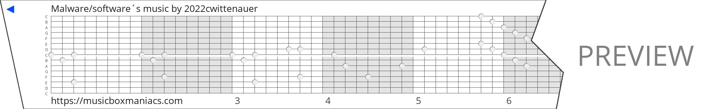 Malware/software´s music 15 note music box paper strip