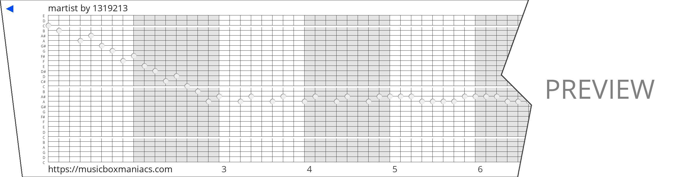martist 30 note music box paper strip