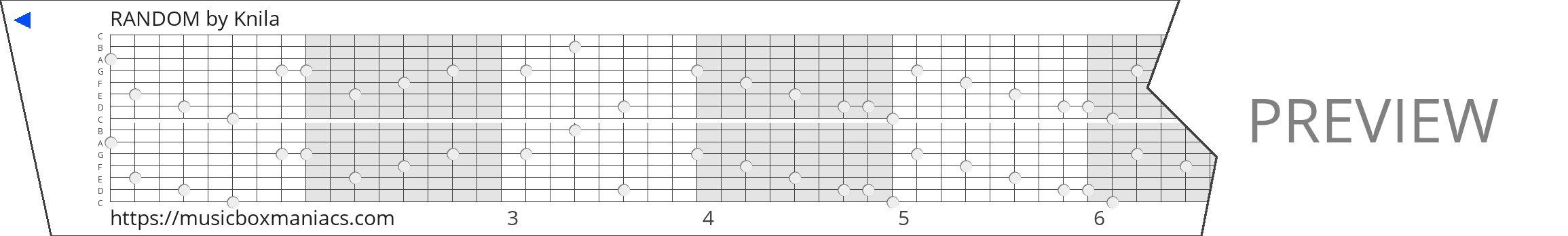 RANDOM 15 note music box paper strip