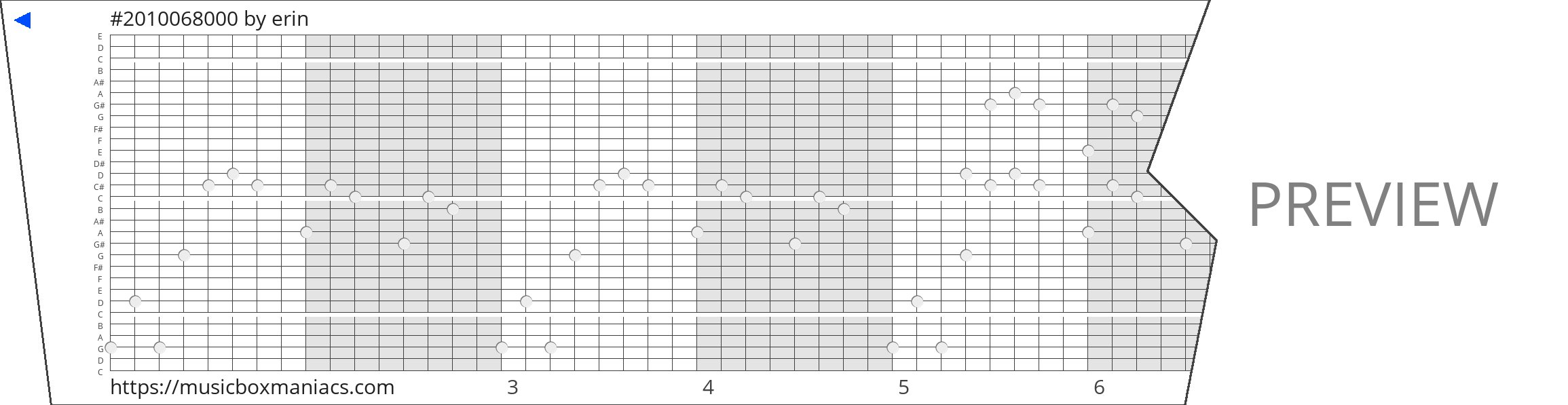 #2010068000 30 note music box paper strip