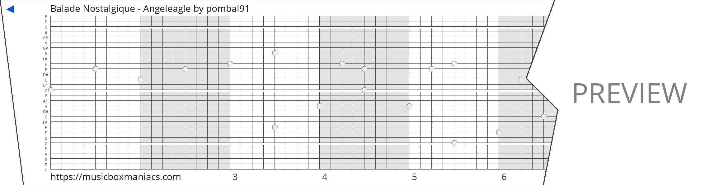 Balade Nostalgique - Angeleagle 30 note music box paper strip