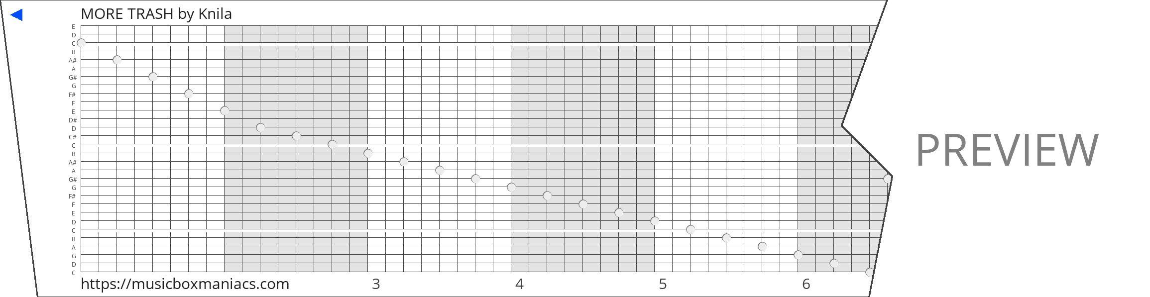 MORE TRASH 30 note music box paper strip