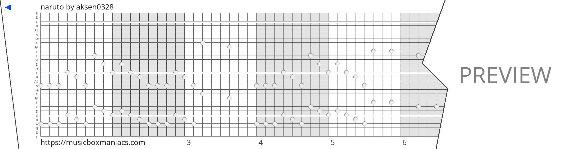 naruto 30 note music box paper strip