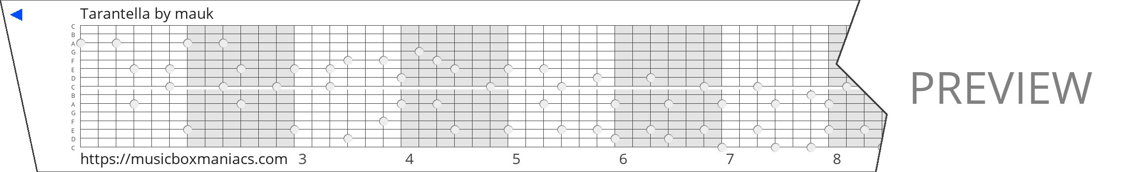 Tarantella 15 note music box paper strip