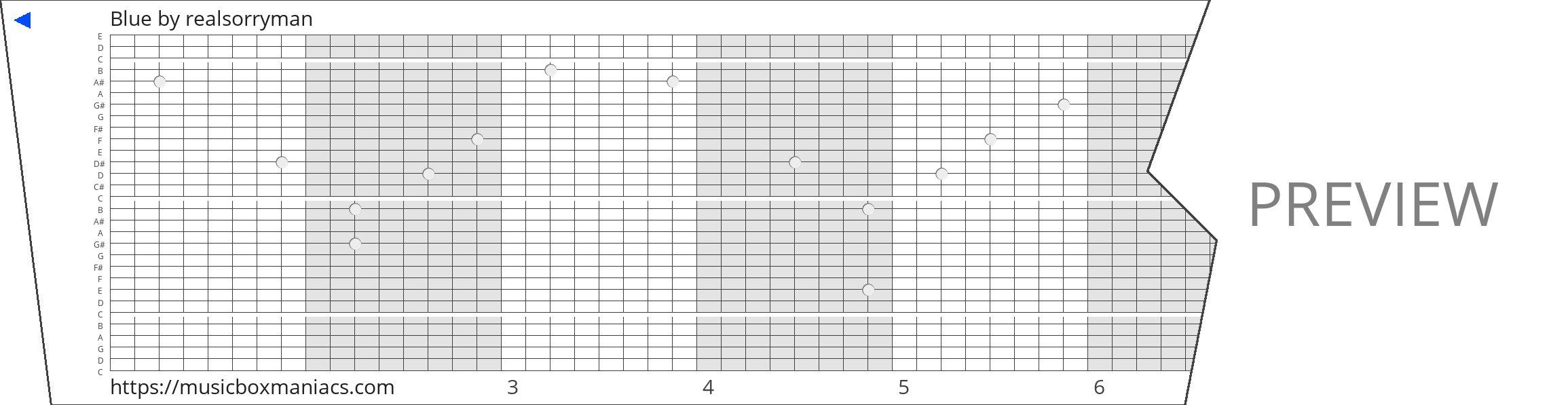 Blue 30 note music box paper strip
