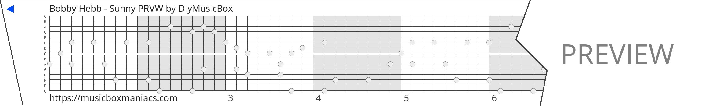 Bobby Hebb - Sunny PRVW 15 note music box paper strip