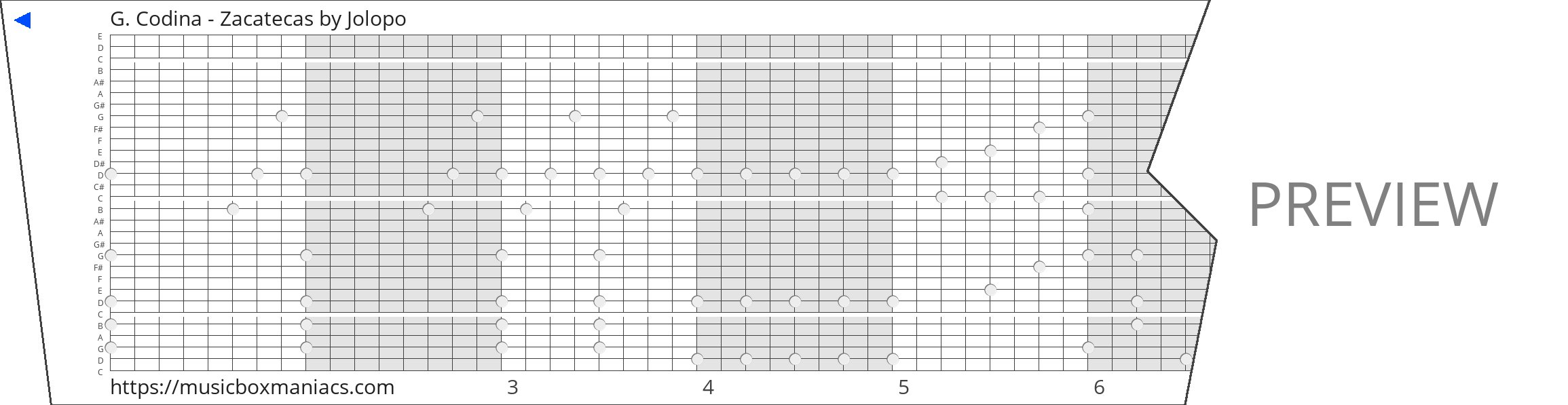 G. Codina - Zacatecas 30 note music box paper strip