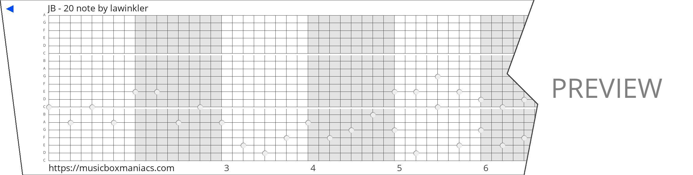JB - 20 note 20 note music box paper strip