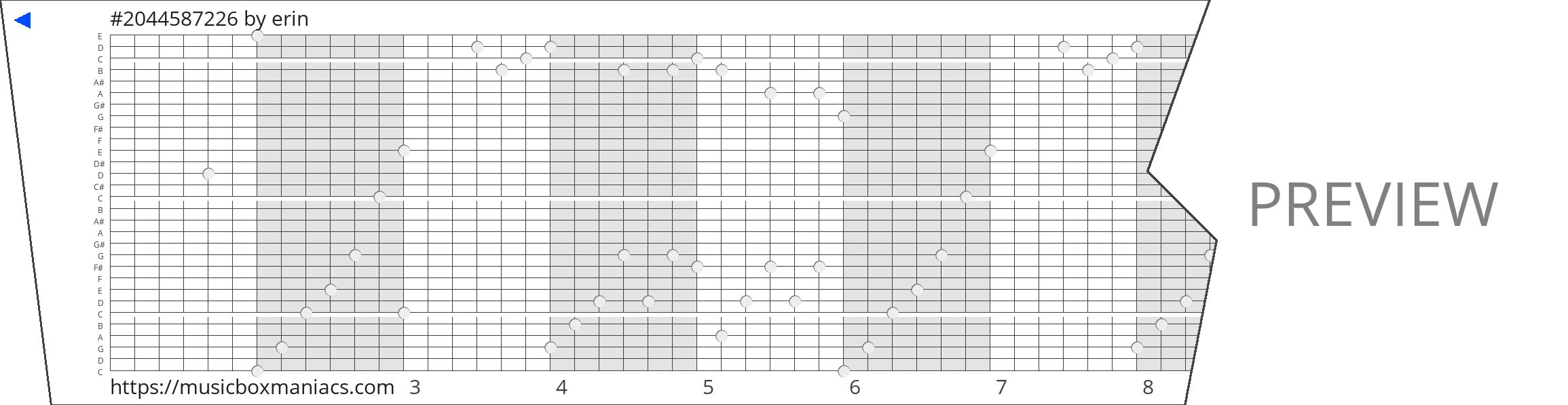 #2044587226 30 note music box paper strip