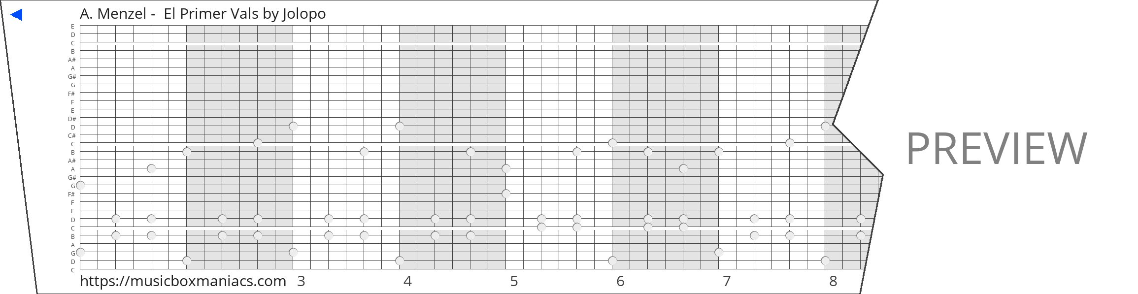 A. Menzel -  El Primer Vals 30 note music box paper strip