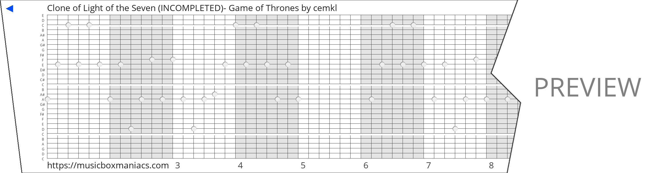Clone of Light of the Seven (INCOMPLETED)- Game of Thrones 30 note music box paper strip