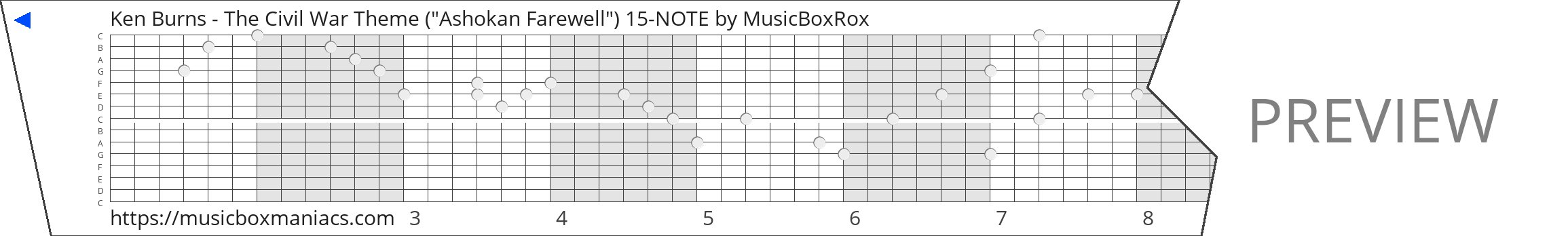 "Ken Burns - The Civil War Theme (""Ashokan Farewell"") 15-NOTE 15 note music box paper strip"