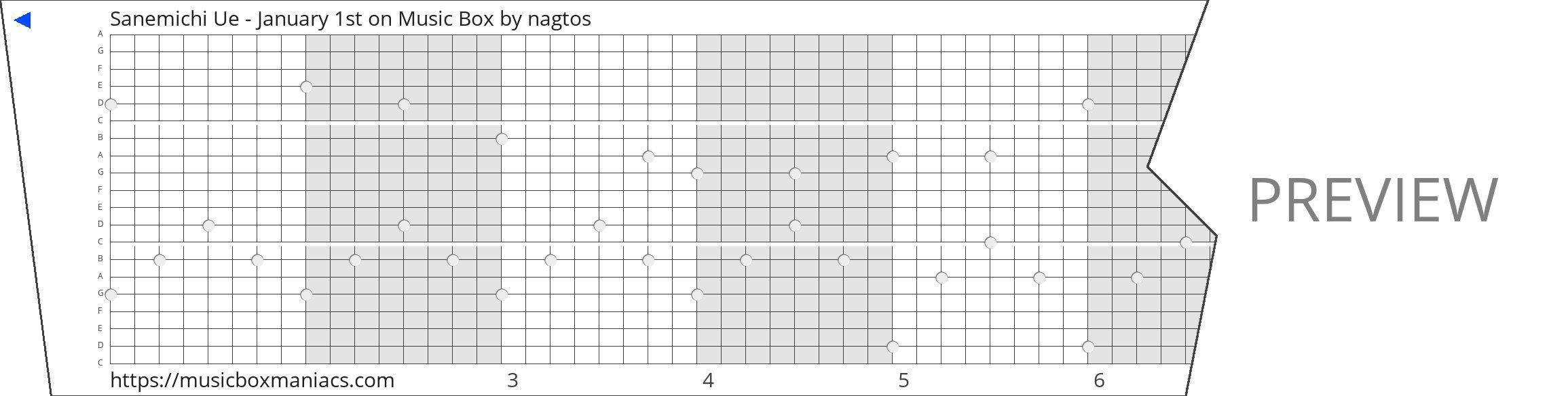 Sanemichi Ue - January 1st on Music Box 20 note music box paper strip