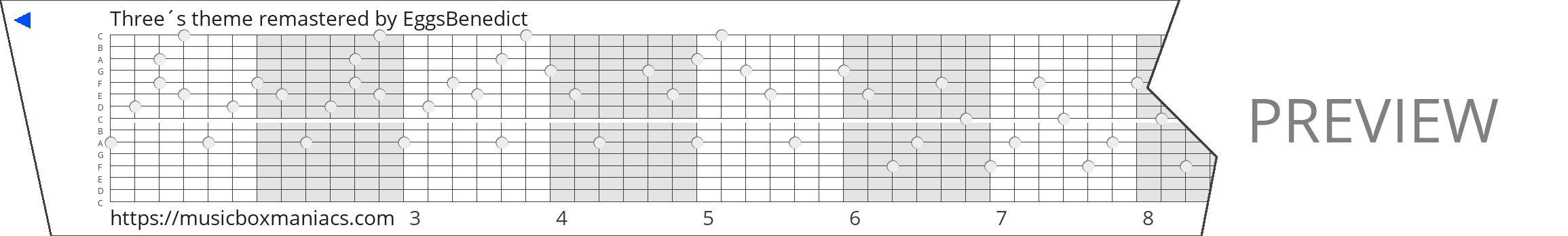 Three´s theme remastered 15 note music box paper strip