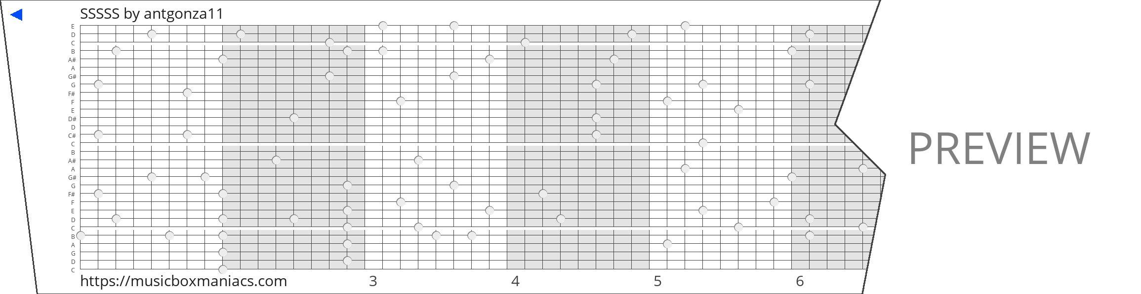 SSSSS 30 note music box paper strip