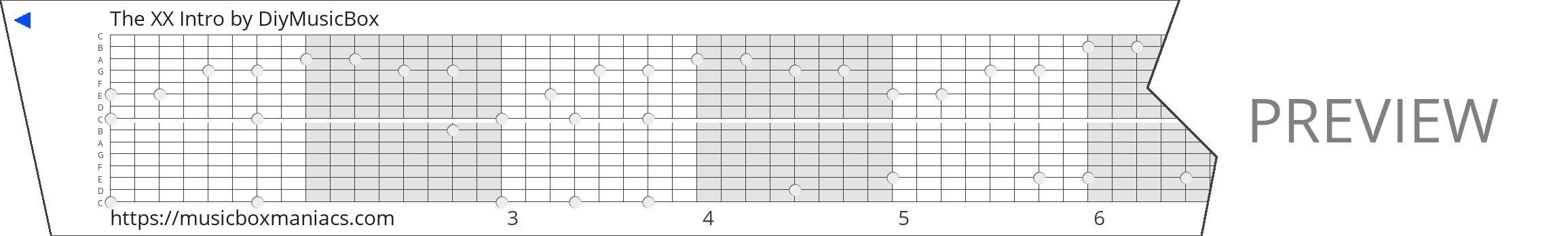 The XX Intro 15 note music box paper strip